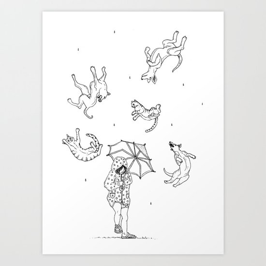 Its Raining Cats and Dogs  Art Print