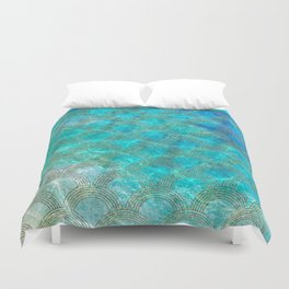 Sea Ocean Waves effect- Gold and Aqua Scales Pattern Duvet Cover