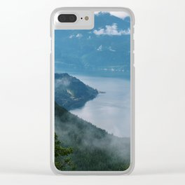 Fog over the water in Squamish BC Clear iPhone Case