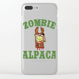 Alpaca Shirt Typography With An Image Of Alpaca Saying Zombie ALpaca T-shirt Design Scary Blood Clear iPhone Case