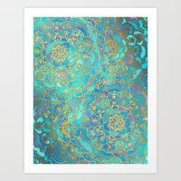 mermaid Art Prints featuring Sapphire & Jade Stained Glass Mandalas by micklyn