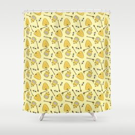Honeybee and Beehive Pattern Shower Curtain