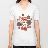 kawaii V-neck T-shirts featuring Kawaii Master by Stickathing SAT