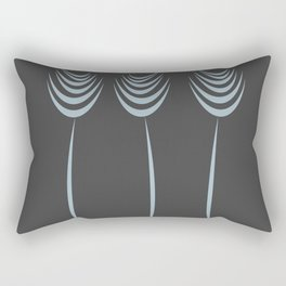 Abstract Ink Art Flowers In Blue Rectangular Pillow