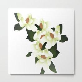 Vintage Botanical Magnolias Flower Metal Print