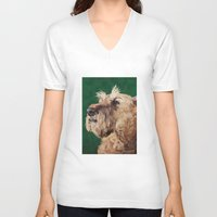 irish V-neck T-shirts featuring Irish terrier by Carl Conway
