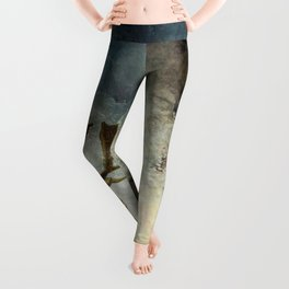 VINTAGE COUPLE IN AUTUMNAL ABSTRACT FOREST Leggings