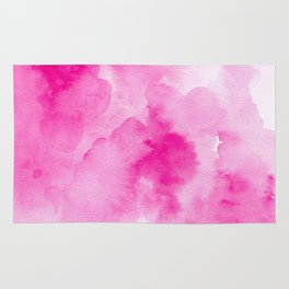 Hand painted magenta pink modern watercolor Rug
