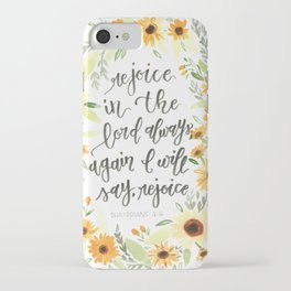watercolor sunflowers Bible verse /// rejoice in the Lord always iPhone Case