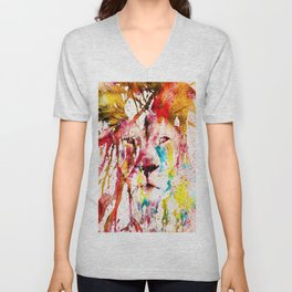 Wild Lion Sketch Abstract Watercolor Splatters Unisex V-Neck