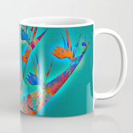 Teal and Aqua Glowing Bird of Paradise Floral Coffee Mug