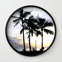 Three Palms in Paradise Wall Clock