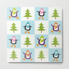 Festive Penguins and Christmas Trees Metal Print