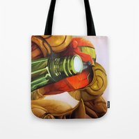 metroid Tote Bags featuring Metroid by JeyJey Artworks