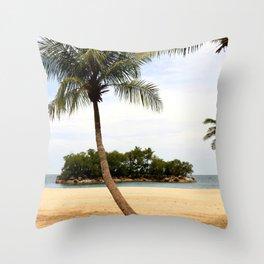 Palm Tree on a Sandy Beach Throw Pillow