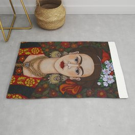 Frida with butterflies Rug