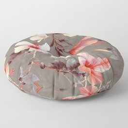 Coral Hibiscus Floor Pillow