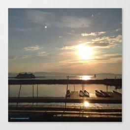 Lake Champlain Ferry to Burlington Vermont at Sunset Canvas Print