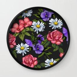 Flowers on Black Background, Original Art Wall Clock