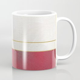 Blue, Red And White With Golden Lines Abstract Painting Coffee Mug