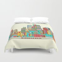 minneapolis Duvet Covers featuring Minneapolis city  by bri.buckley