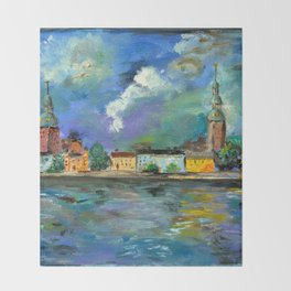 A Night of Color in Riga Throw Blanket