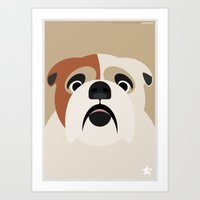 bulldog Art Prints featuring Bulldog by SaveTheDogs.es