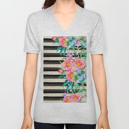 Modern stripes and tropical flowers hand paint Unisex V-Neck