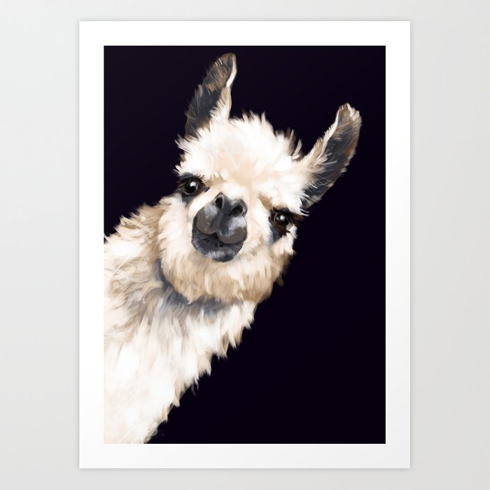 Sneaky Llama in Black Kunstdrucke