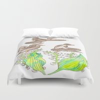 ducks Duvet Covers featuring  Wild ducks by Thesecretcolors