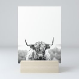 Highland Cow Longhorn in a Field Black and White Mini Art Print