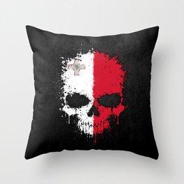 Flag of Malta on a Chaotic Splatter Skull Throw Pillow