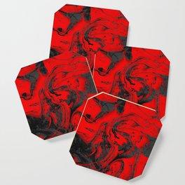 Black & Red Marble I Coaster