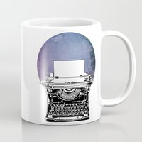 typewriter Mugs featuring Typewriter by Rebecca Joy - Joy Art and Design