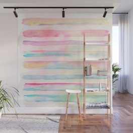 Colorful Watercolor Stripes Wall Mural