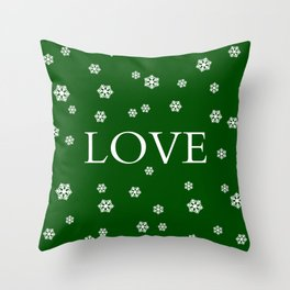 Winter Love - hunter green Throw Pillow