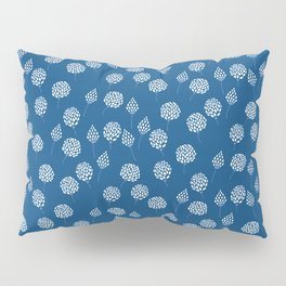 White doodle flowers on classic blue background  Pillow Sham