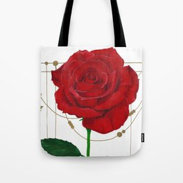 Metallic Accent Rose Tote Bag
