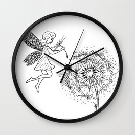 Fairy picking up dandelion seed Wall Clock