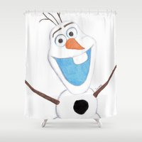 olaf Shower Curtains featuring olaf likes warm hugs  by Art_By_Sarah