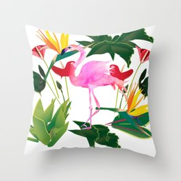 Flamingo and Flowers Throw Pillow