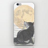 shiba inu iPhone & iPod Skins featuring SHIBA INU, MOON, DOG by Bless Hue