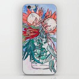 Painterly Vase of Proteas, Wattles, Banksias and Eucayptus on Blue iPhone Skin