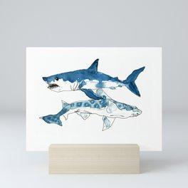 Mako & Leopard Shark Mini Art Print