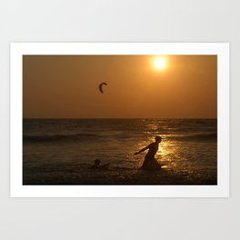 Playing in the Sea at Sunset Mandrem Art Print