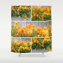 Orange Pansies Collage Shower Curtain