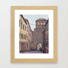 STREET SCENE, Bologna Travel Sketch by Frank-Joseph Framed Art Print