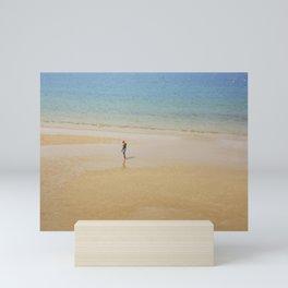 A Man on La Concha Beach in San Sebastian, Spain Mini Art Print