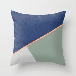 Navy Sage Gray Gold Geometric Throw Pillow