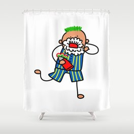 Brushing Teeth Boy Shower Curtain